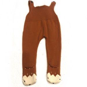 PatPat Deer Footie Comfy Knit Suspender Pant Brown